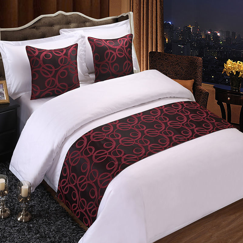 Polyester hotel bed runner and cushion