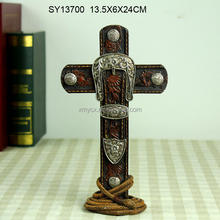 Good quality church decoration resin cross artifact