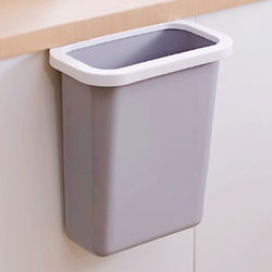 Large simple kitchen countertop trash can Cabinet door hanging uncovered household plastic bucket bedside storage bucket
