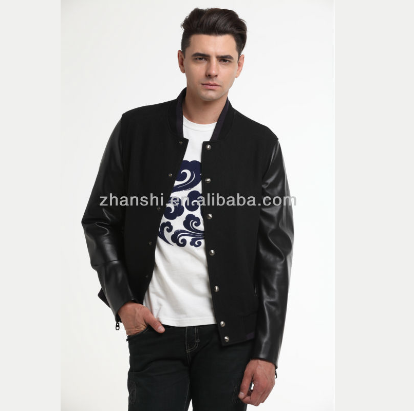 Custom Fashion Black Men Wool Varsity Jacket With Leather Sleeve