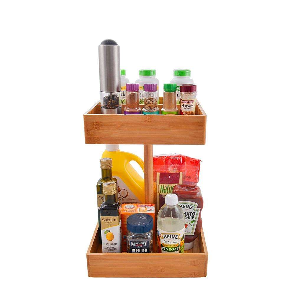 Bamboo Kitchen and Snack Organizer 2 tier high capacity wooden storage rack