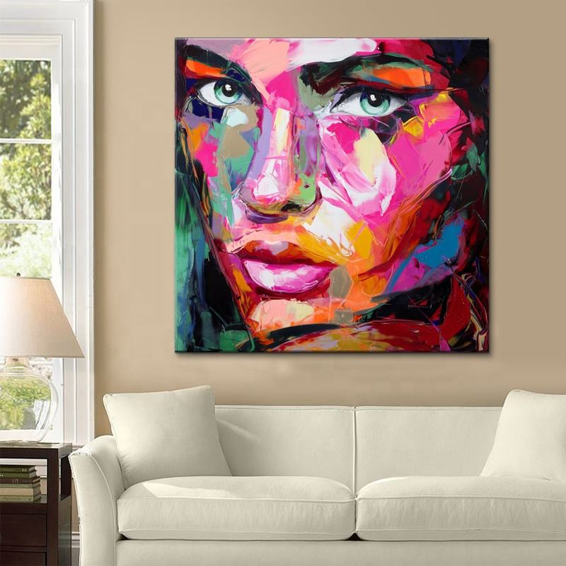 Colorful Woman palette knife Portrait hand painted wall art Modern Pop Art Oil Paintings For Home cuadros decorativos