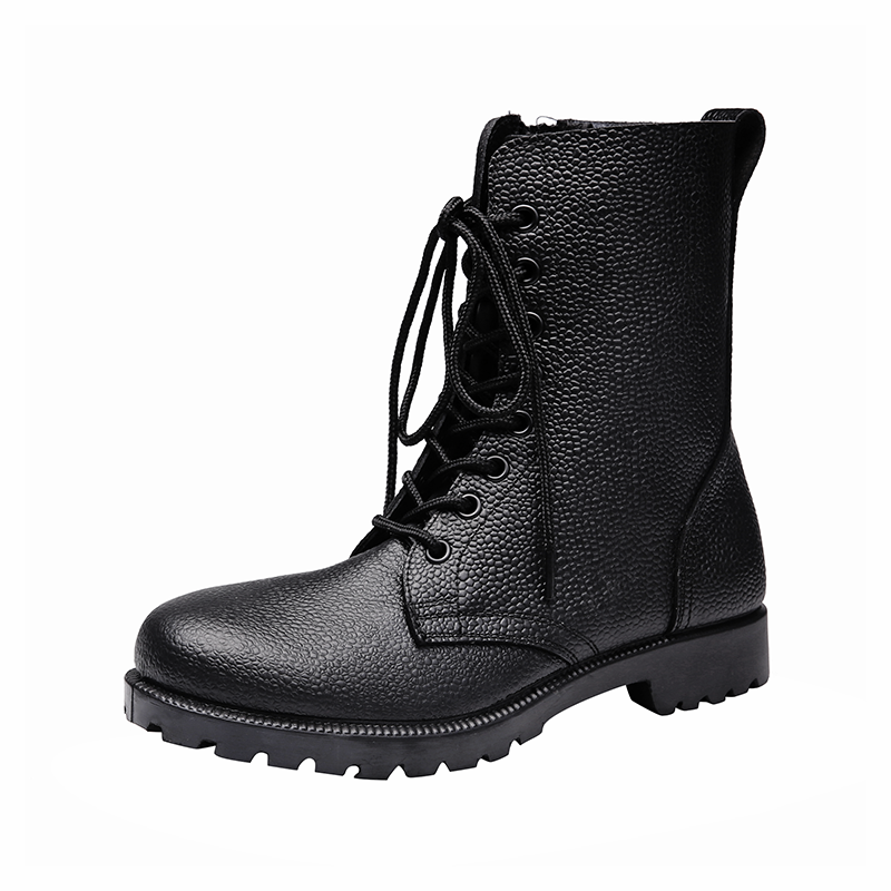 China Xinxing black military tactical boots moulding army officer duty police shoes with size zipper MB51