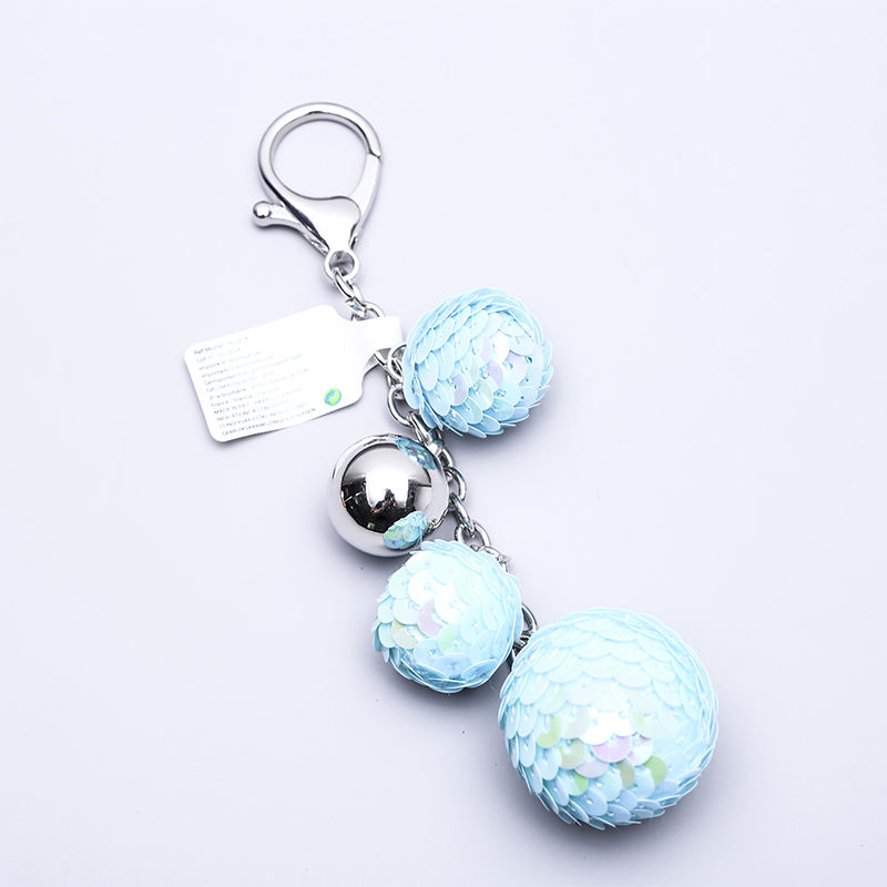 Bestseller Amazon Classic Sequin Fish Scale keyring Long Mirrored Disco Tennis Ball Keychain