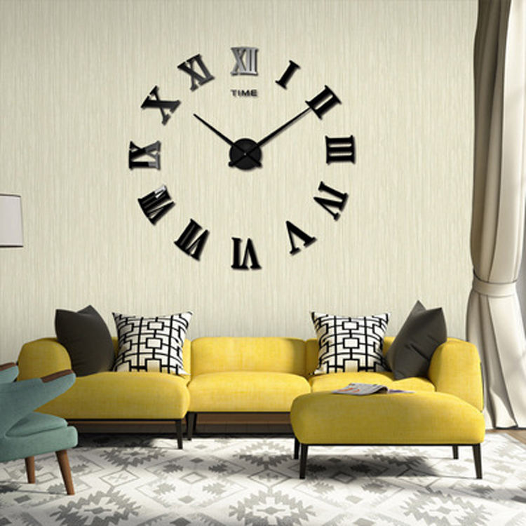 Roman numerals large size modern decorative wall clock acrylic DIY