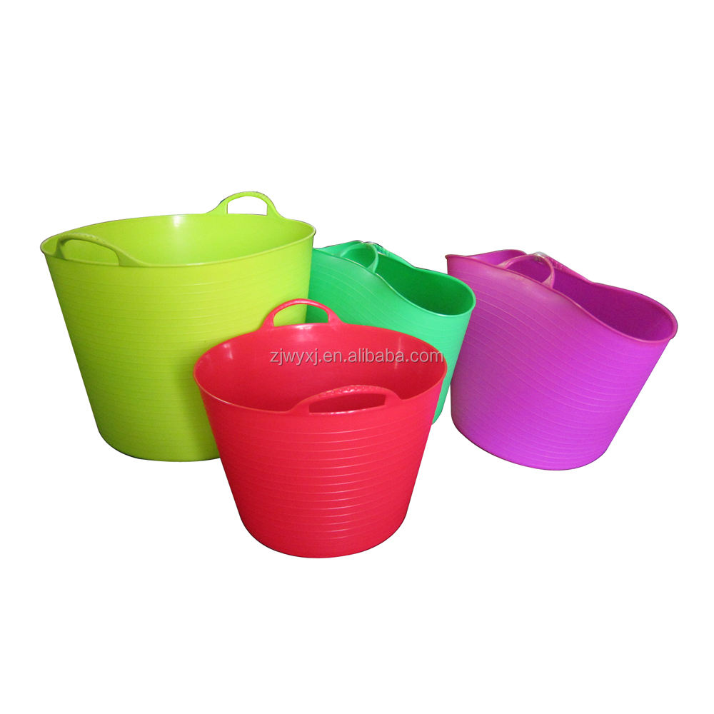 plastic garden bucket colorful flexible bucket Laundry basket REACH