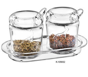 high quality set of 2 multi-function kitchen condiment containers clear chill bottle Acrylic spice jar with spoon