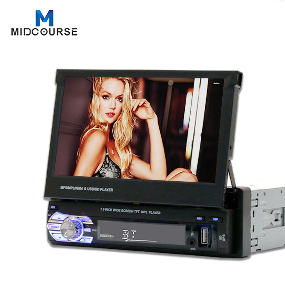 Single 1 DIN 7 inch Retractable Touch Screen FM AM USB Bluetooth Car Audio Radio Stereo Video DVD player