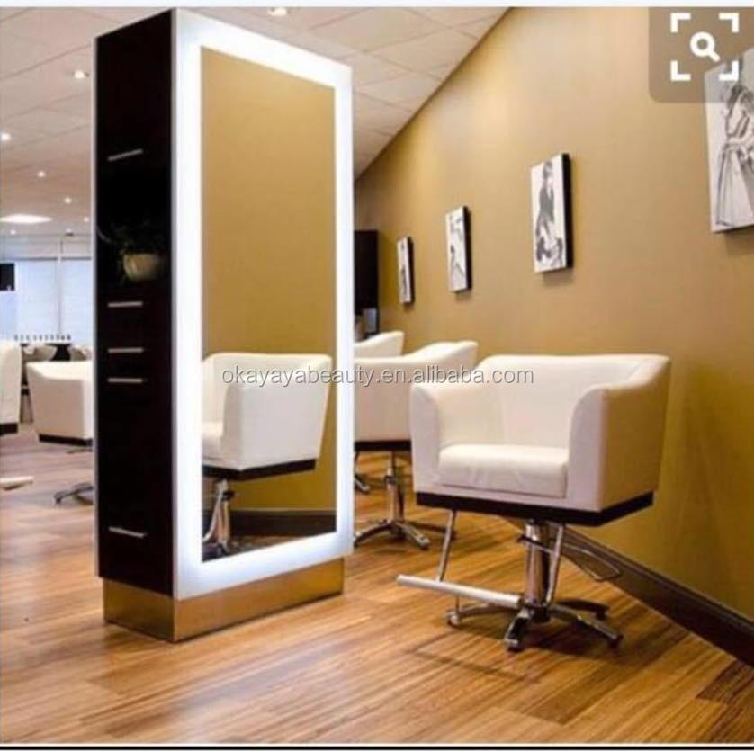 Saloon equipment and furniture double sided barber stations hair styling mirror salon station with lights