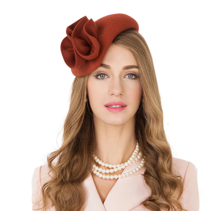 Wholesale Elegant Floral Ladies Cocktail Hat Wedding Derby Orange Wool Black Fedora Party Women Fascinator Hats For Ladies