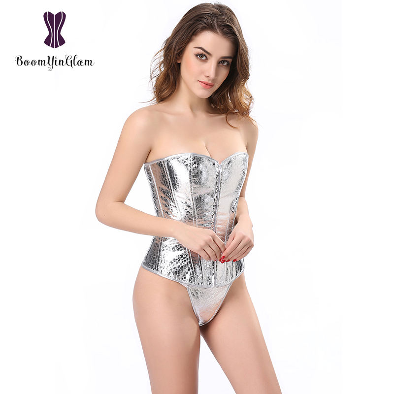 Silver Faux Leather Bustier Top Steampunk Sequin Underwire Zip Sparkle Party Showgirl Clubwear Corsets