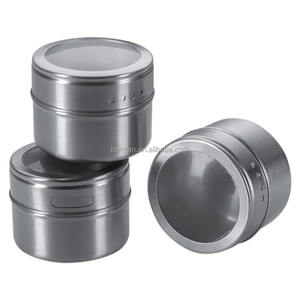 12 Pcs Stainless Steel Magnetic Multi-Purpose Spice Storage Tins with Clear Top Lid