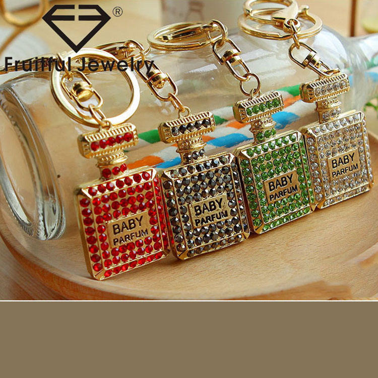Fashion Colourful Gold Bag Charm Full Crystal Perfume Bottle Keychain