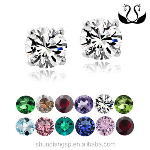Crystal Ice Stainless Steel 6mm Birthstone Stud Earrings