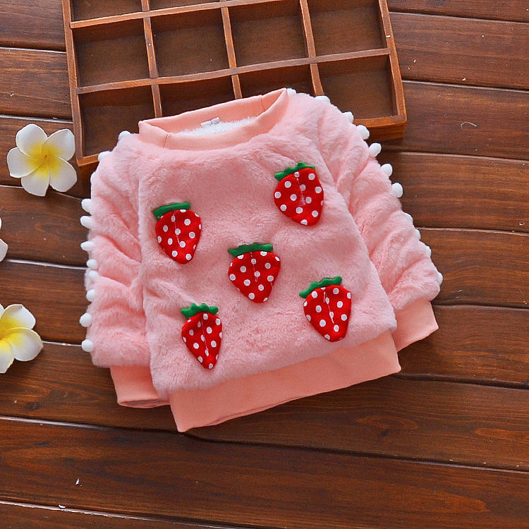factory price toddler fur coat pullover sweater baby strawberry clothing