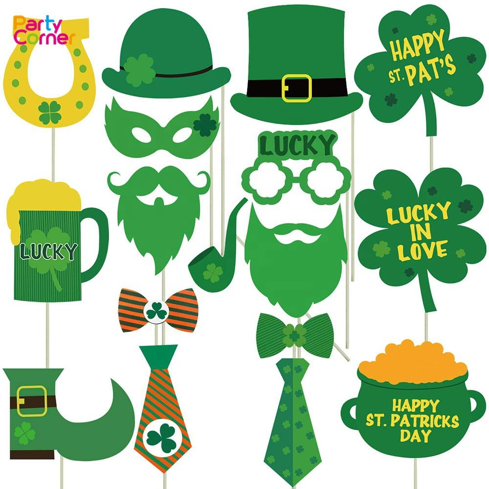 Party Decorations Photo Booth Props Irish Day Mustaches Creative Funny Disguise Props for Parties or Group Photos St Patricks Photo Booth Props 55 Pieces