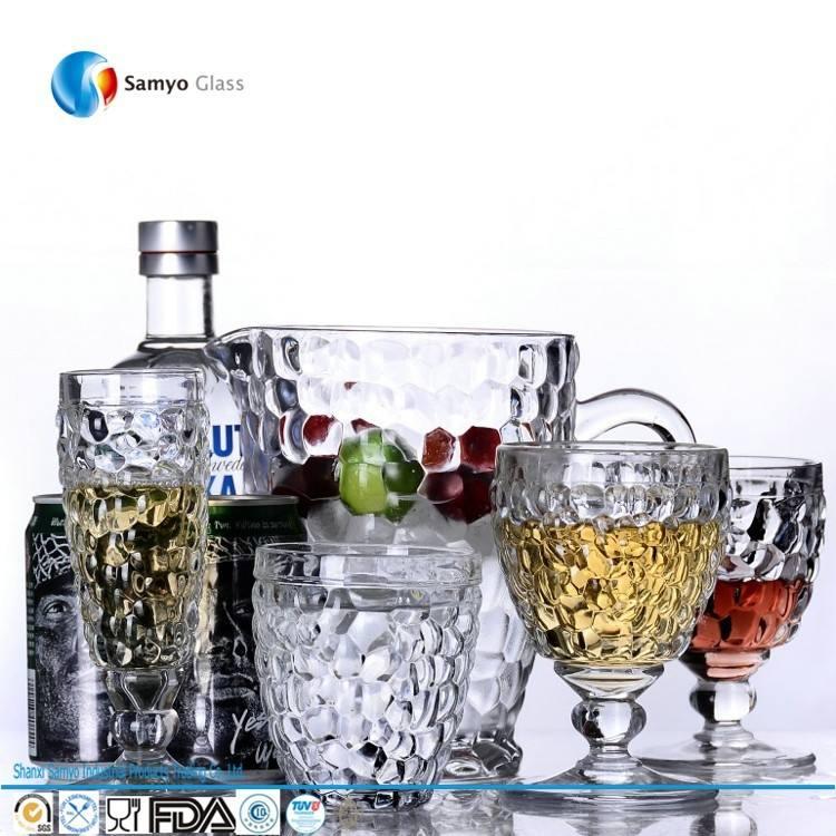 lindo soplado a boca marroquíes trofeo claro a mano grabado de vidrio para beber