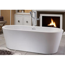 Simple white center drain acrylic freestanding bathtub