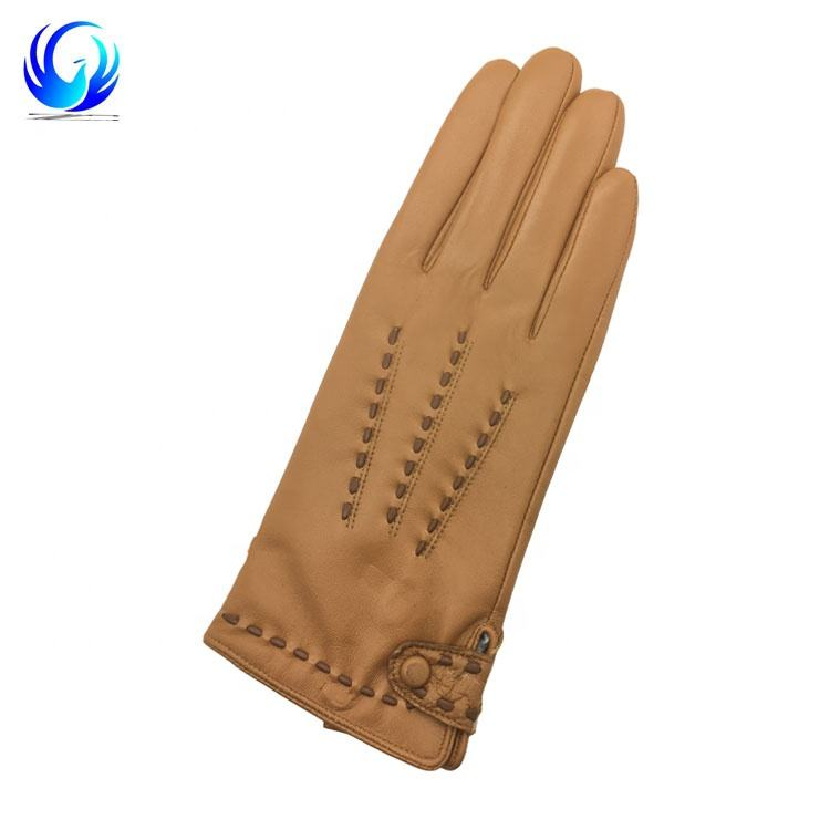 Camal Winter Women Leather warm Gloves touchscreen