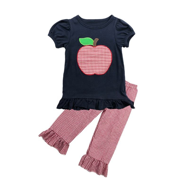 2019 zomer apple applique baby meisje outfits groothandel kids boutique kleding peuter kleding