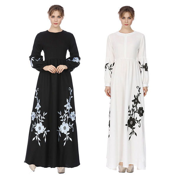 embroidery workmanship 2021 maxi long islamic clothing muslim dress white