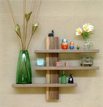 Solid Wood Floating Shelves Wooden Wall Shelf Home Decor 3 tiers Shelves Unit