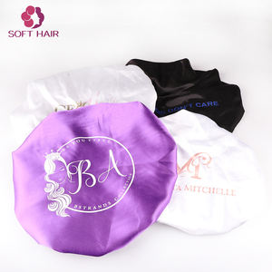 2020 New Style Satin Hair Bonnet Cap Manufacturer Custom Private Label Silk Black Hair Bonnet