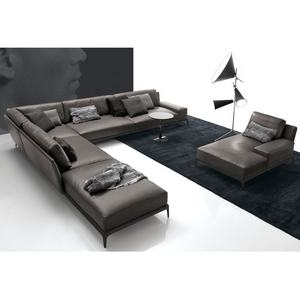 New coming office home furniture davenport l shape corner genuine leather Sofas with feather pillows Living+Room+Sofas