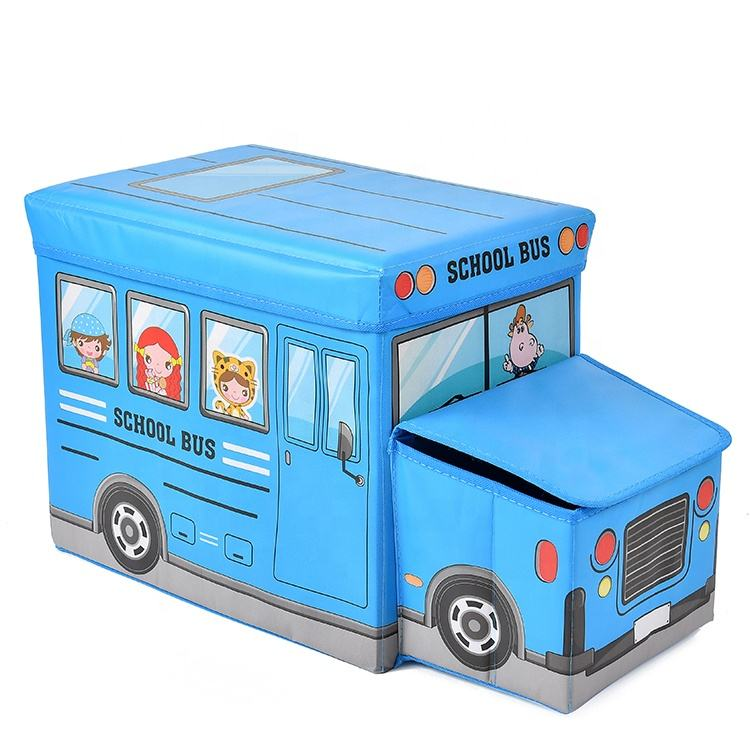 Multifunctional Car Cartoon Storage Bin Collapsible Toy Bus Foldable Toy Storage Box