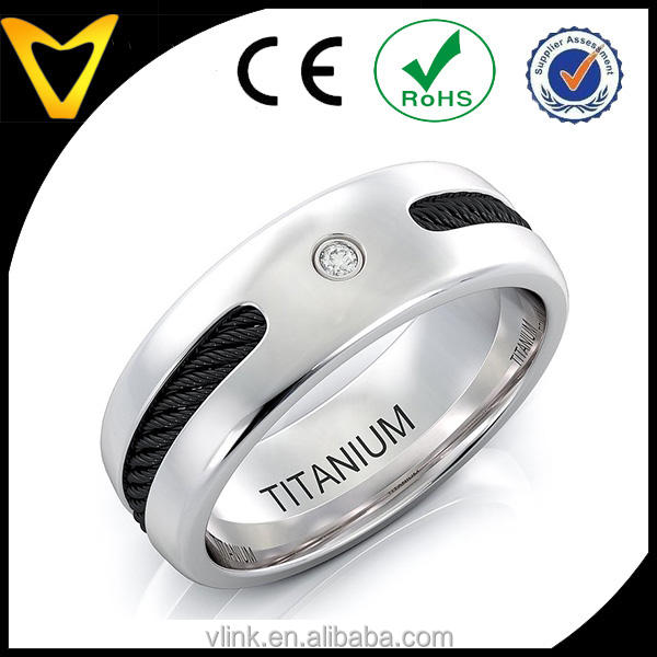 2016 New Model Wedding Ring Titanium Band for Men, Quality Mens Wedding Band Titanium Ring Black Cable with Solitare Cz Diamond