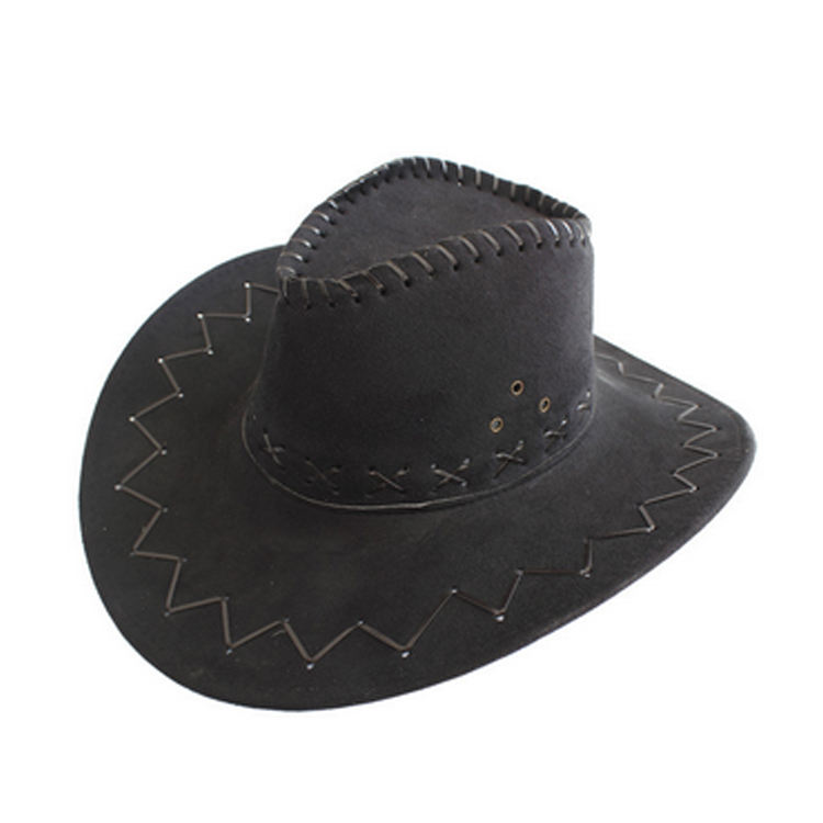 Factory price western men wide brim suede cowboy hat logo