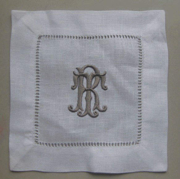100% pure linen cocktail napkins with taupe monogramming