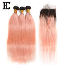Ombre Bundles With Closure Straight Ombre #1B/Light Pink Human Hair Bundles With Lace Closure Brazilian Non Remy Human Hair
