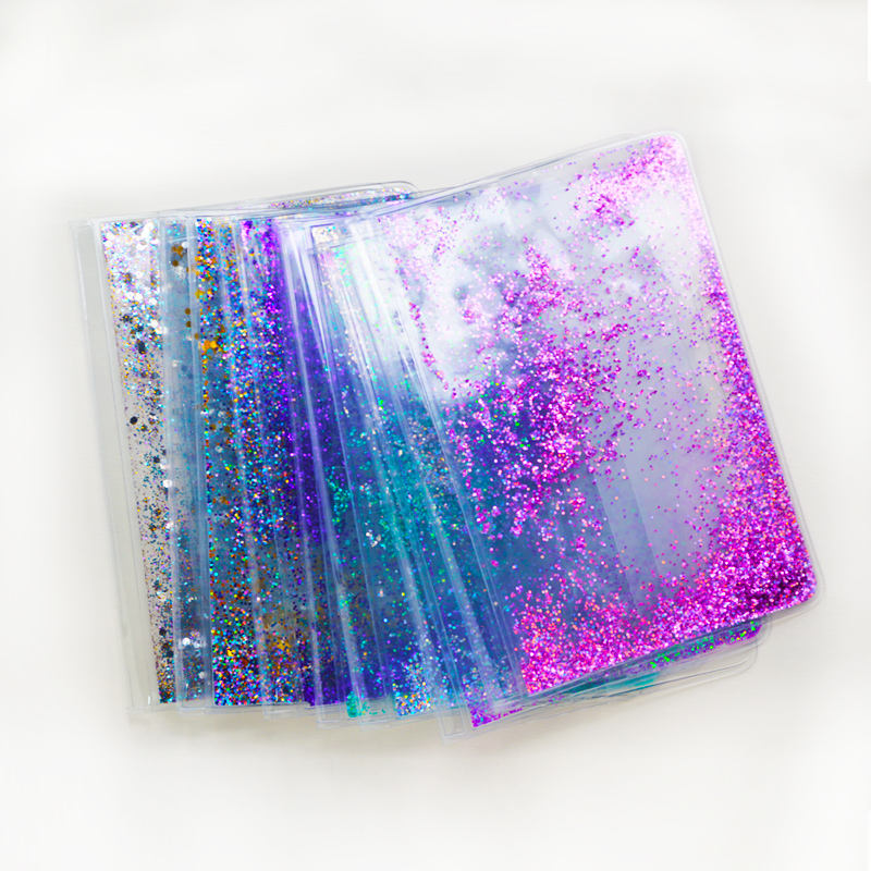 attractive colorful pvc liquid glitters school notebook cover