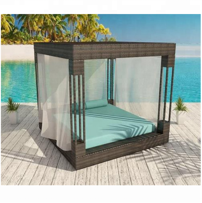 2018 Best selling luxury outdoor garden bed daybed rattan square