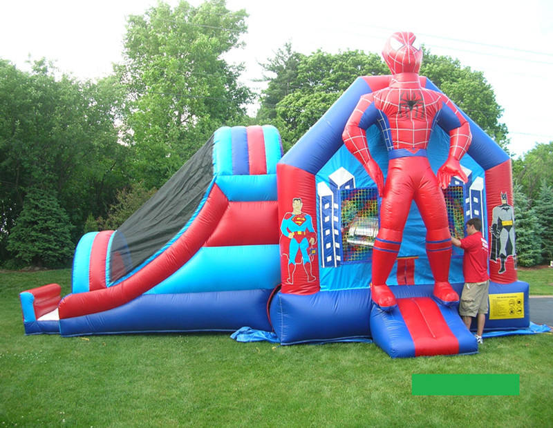Spiderman Adventure Inflatable Combo / Superhero bounce house with slide / moonwalk bouncer for sale