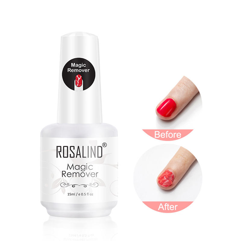 Rosalind oem nail art tools private label 15ml magic gel remover easy apply uv gel nail polish gel remover for wholesale