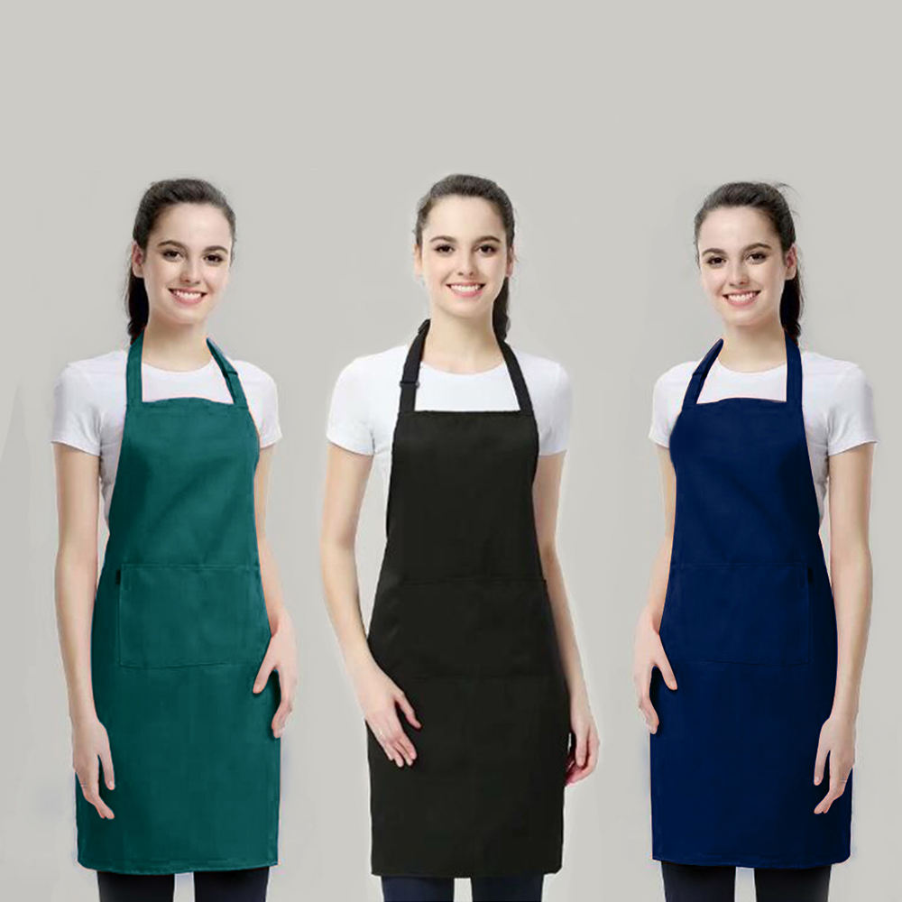 Wholesale Custom Made T/C Cotton Twill Promotional Kitchen Bib Aprons With Pockets Durable