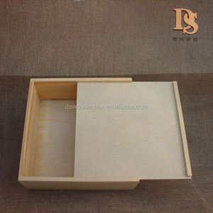 Cheap Unfinished Sliding Lid Empty Wooden Box