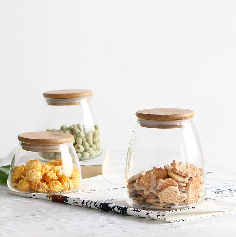 home goods sealed air tight glass jar with bamboo lid