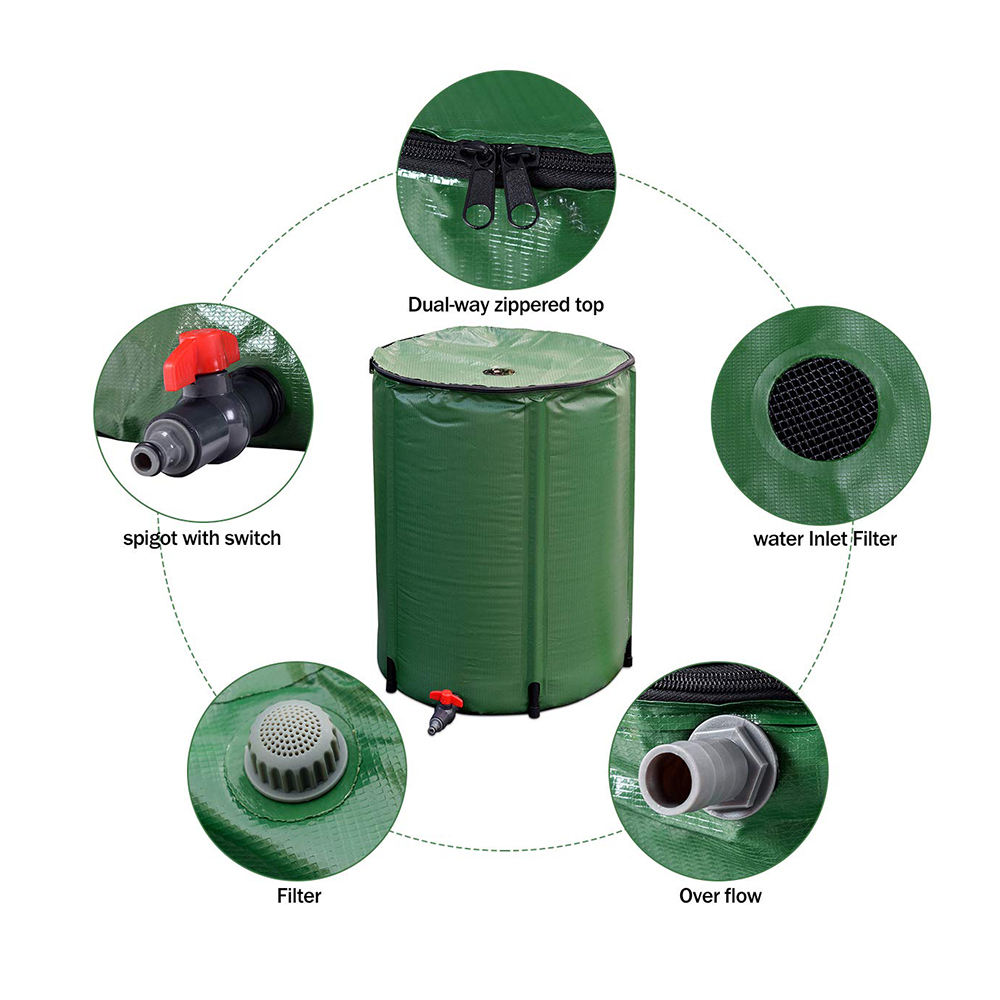 400L Collapsible Portable Water Storage Tank Collection Rain Barrel