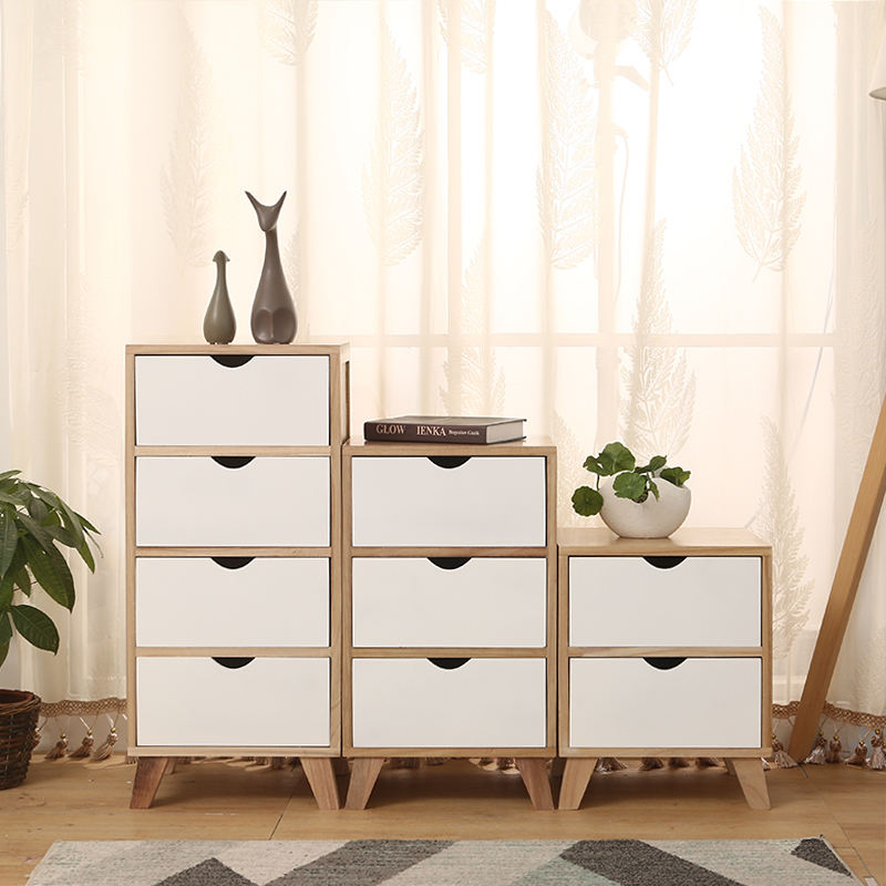 North European Wooden Bedroom Cabinet Living Room Furniture Modern White or Customize 1 Sets Solid Wood Storage and Decoration