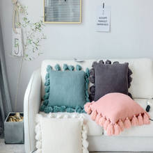Wholesale New Style 100% Handmade Square Wool Knitted Cushion Cover Throw Pillowcases With Tassels