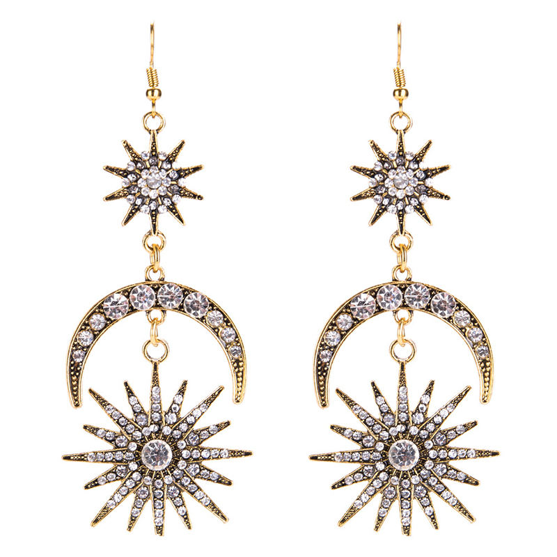Fashion Jewelry Sun Star and Moon Earrings Gold Color Crystal Pendant Punk Rhinestone Earrings Chandelier