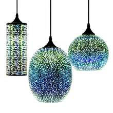 Modern Glass Chandelier 3D Colorful Nordic Starry Sky Ceiling Light Hanging Glass Shade Pendant Lamp Lights