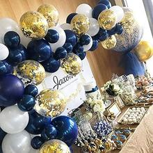 Gold Confetti Balloons Matte White  And Dark Blue balloon Garland Kit  for 1st Birthday Party Baby Shower Wedding Party