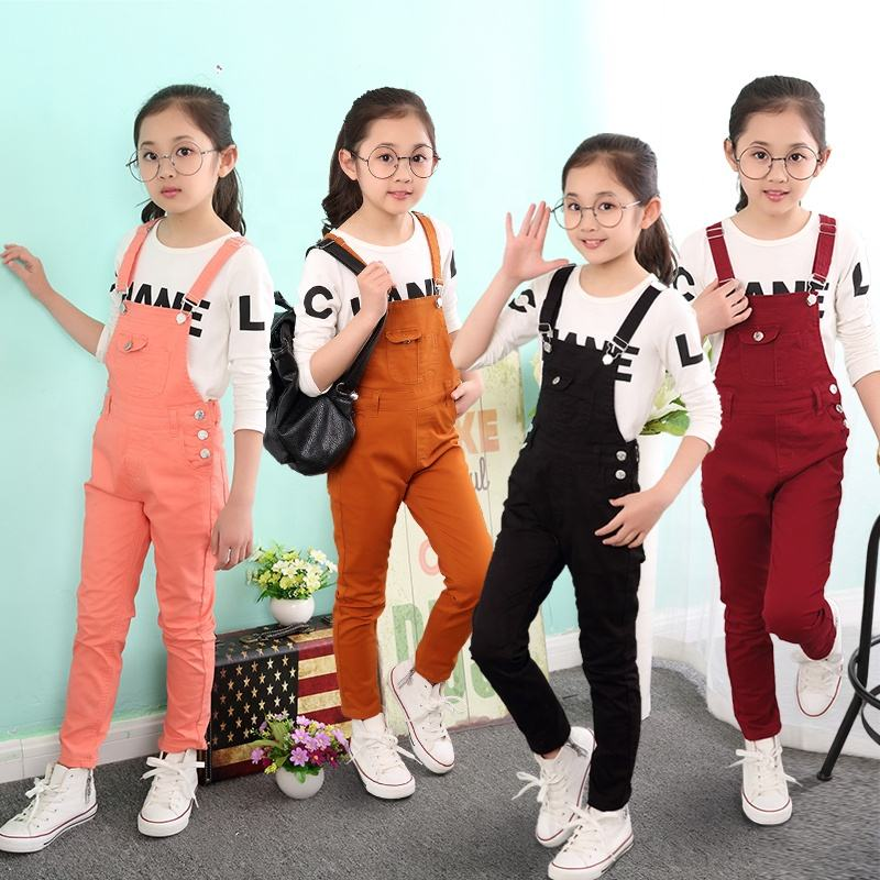 Fashion Casual Jeans Children Cotton Spandex Girls Denim Jeans Overalls For Kids