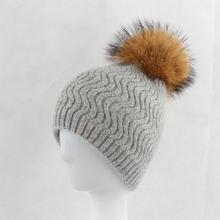 Thick Knit Winter Warm Wool Skull Hat Double Layer Real Raccoon Fur Ball Beanies
