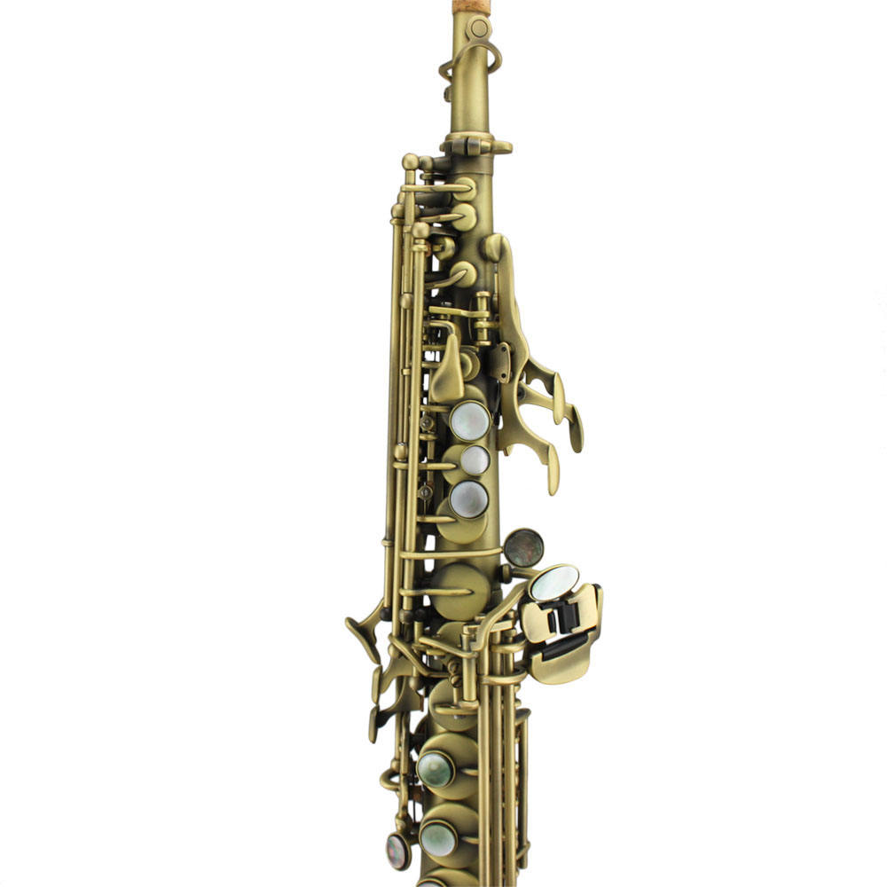 Tide Music antique color straight soprano saxophone with two necks
