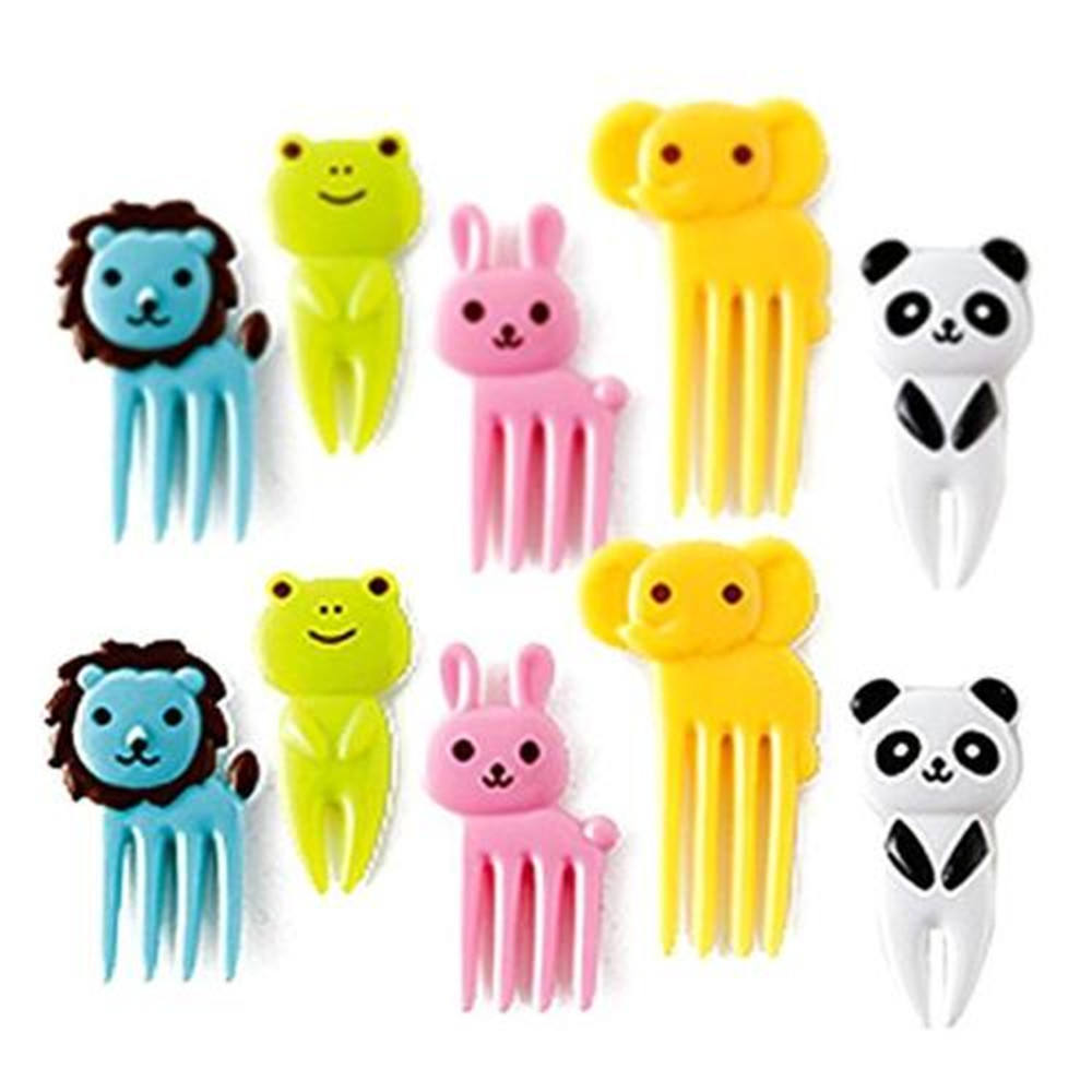 Bento Box Decoration Cute Animal Food Picks and Forks Set of 10